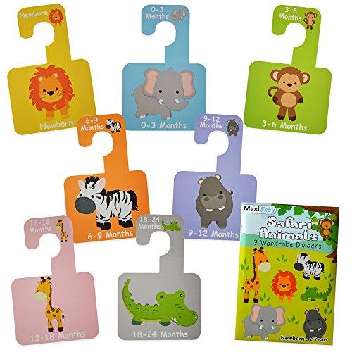 Armadio divisori per organizzare le taglie di abbigliamento per bambini dalla nascita ai 2anni. Ideale come regalo. Set di 7divisori con design animali del Safari. Qualità premium.