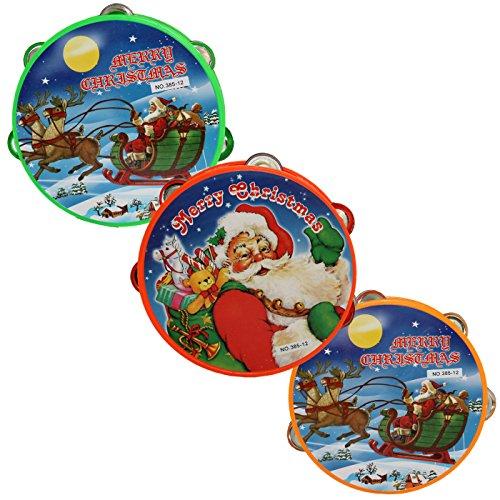 Acan Pack de 3 panderetas de plástico navideñas 16 cm