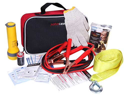Justin Case Commuter Car Emergency Kit with 365 days of Roadside Assistance – Roadside Emergency Kit with Booster Cables, Tow Strap, First Aid Kit, Flashlight, Rain Poncho, Gloves