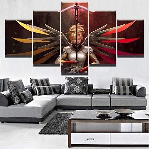 bnkrtopsu 5 Wandkunst Stück Leinwand 5 Leinwandbilder auf Leinwand für Heimdekoration und Poster Overwatch Mercy Championship-Spiel (150 x 80 cm, Rahmenlos)