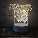 Luz Nocturna ,Lámpara De Ilusión Óptica Led 3D Con Placas Acrílicas De Patrones,Lámpara De Visualización Creativa Usb Regalo Para Niños,Pelea De Perros