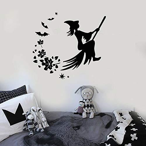 Tianpengyuanshuai vinyl muursticker Halloween heks bezem magische sticker kinderen slaapkamer kleuterschool kinderkamer wanddecoratie