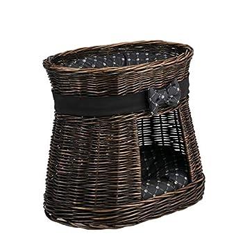 Wicker24 Panier, Maison en Osier à Deux étages, Panier Osier Brun Gris avec lit au Dessus et 2 Coussins Noirs imprimé Petits Pieds de Chats, Tour pour Chat