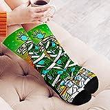 1 par de calcetines de algodón a la moda de Navidad con patrón de dibujos animados novel, calcetines de moda casual, de 48 cm de estilo navideño para hombre y mujer, tamaño libre