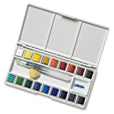Jerry Q Art 18 Assorted Water Colors Travel Pocket Set- Quality Refillable Water Brush with Sponge - Easy to Blend Colors - Built in Palette - Perfect for Painting On The Go JQ-118