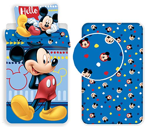 Mickey Mouse - Juego de cama de 3 piezas, funda nórdica + funda de almohada + sábana bajera con esquinas de algodón para niños