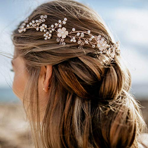 Zoestar Brautschmuck Hochzeit Kristall Haarrebe Stück Blume Stirnband Braut Haarschmuck für Frauen und Mädchen (Silber)