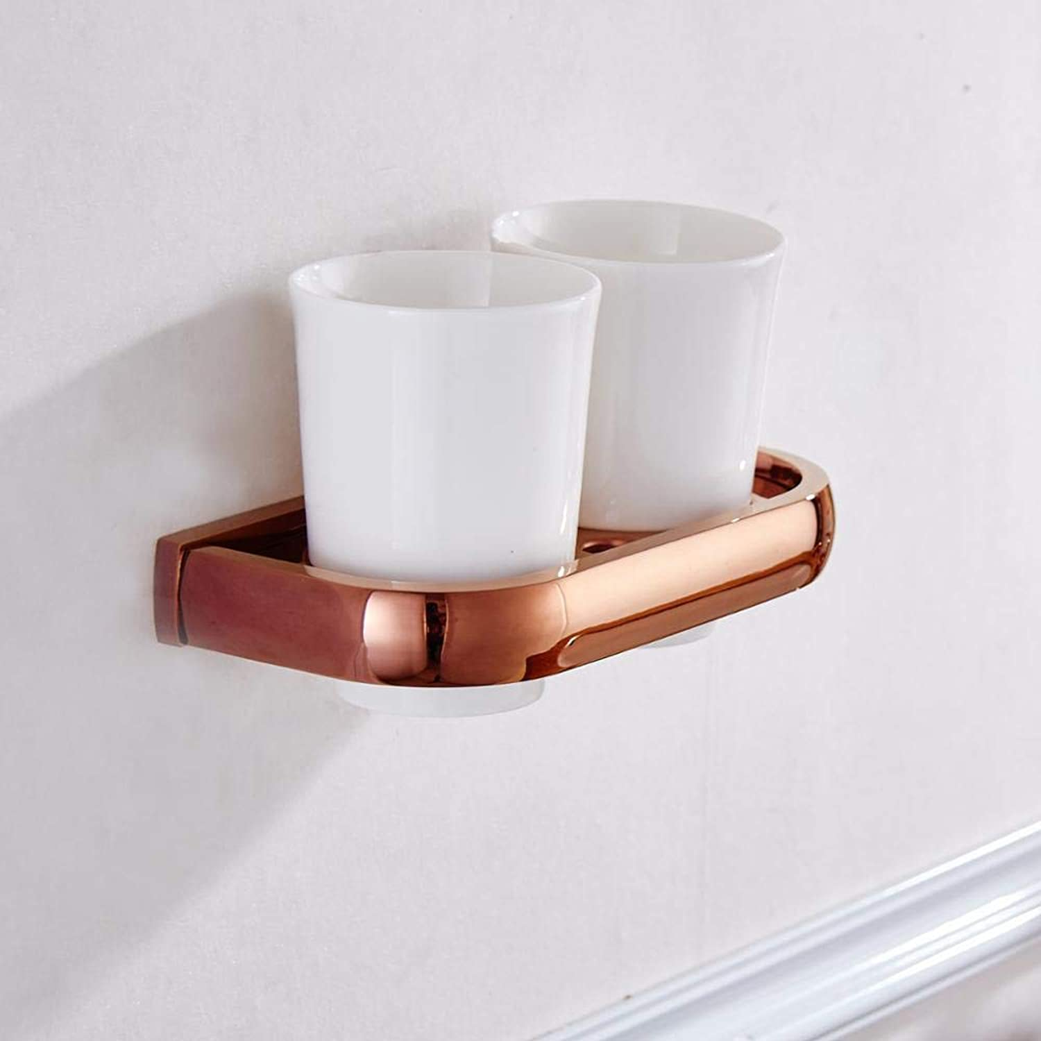 LUDSUY pink gold color Copper Bathroom Accessories Double Tumbler Holder Toothbrush Holder Ceramic Cup