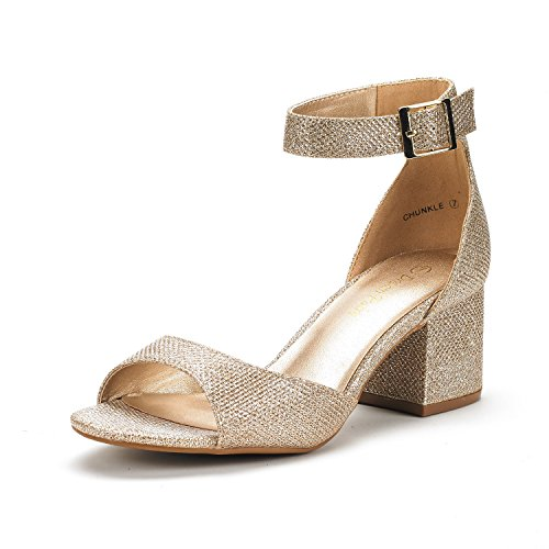 DREAM PAIRS Women's Chunkle Gold Glitter Low Heel Pump Sandals Ankle Strap Dress Shoes - 7.5 M US