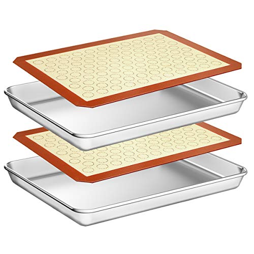 Wildone Baking Sheet with Silicone Mat Set, Set of 4 (2 Sheets + 2 Mats), Wildone Stainless Steel Cookie Sheet Baking Pan with Silicone Mat, Size 12 x 10 x 1 inch, Non Toxic & Heavy Duty & Easy Clean