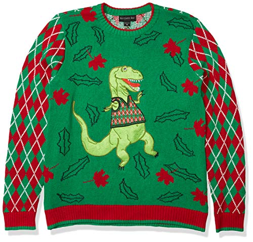 Blizzard Bay Men's Ugly Christmas Sweater Dinosaur, Green/White, X-Large