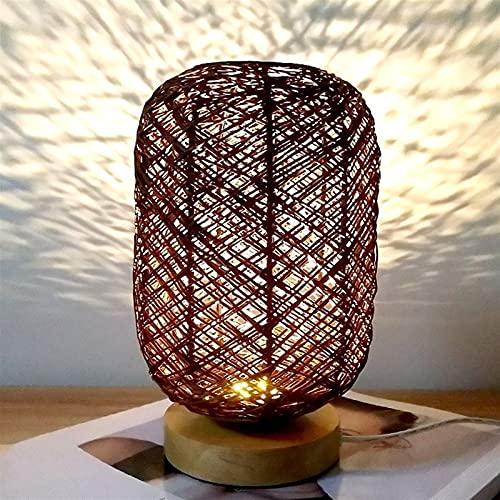 Dimmable creativo 3W LED Mesa de escritorio dormitorio ligero junto a la cama moderno restaurante simple cafetería viva estudio decoración madera twine ratán bola lectura de la lámpara para sala de of