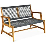 Tangkula 2-Person Patio Acacia Wood Bench Loveseat Chair, Outdoor Patio Bench Acacia Wood Bench in Teak Oil Finish, Patio Loveseat Rope Bench for Balcony Deck Poolside Porch (Teak)