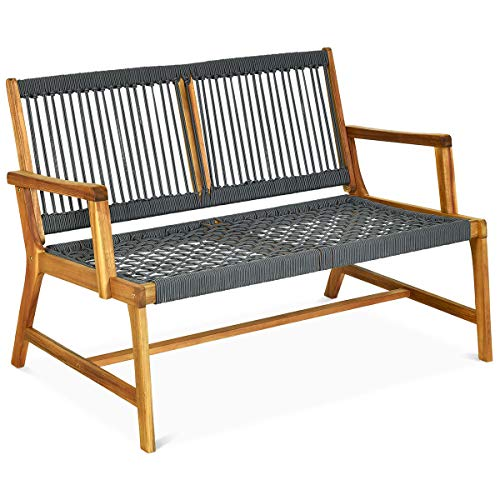Tangkula 2-Person Patio Acacia W...