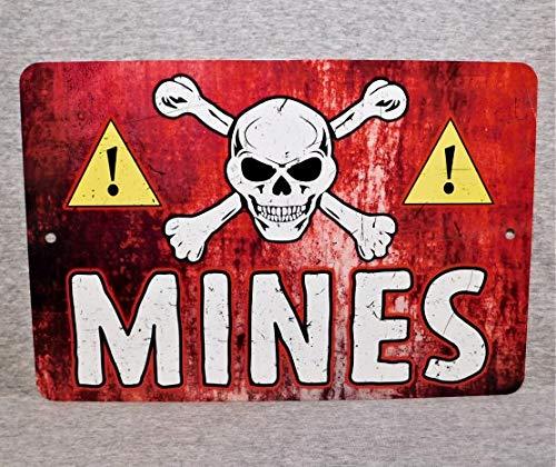 43LenaJon Cartello in Metallo MINE terra miniera campo militare guerra pericolo avvertimento esercito esplosivi cranio ossa incrociate US militaria surplus alluminio 12 x 18