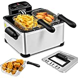 Deep Fryers with Triple Baskets -Simoe 1700W Electric Fryer for Countertop, 5.3QT/21 Cup, Home Fryer with Lid, Adjustable Temperature Timer & View Window, Fryers for kitchen, Stainless Steel