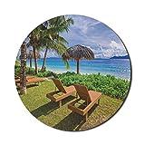Coastal Mouse Pad para computadoras, hamacas en Seychelles Coconut Palm Trees Bungalows Exotic Destinations Hills, redonda antideslizante de goma gruesa Alfombrilla para juegos moderna, redonda de 8 '