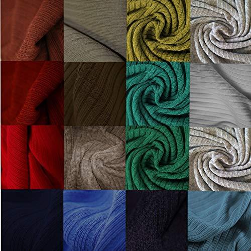 Tela de jersey de punto acanalado, material de textura acanalada 4 x 2, temas de color. Confección de vestidos y manualidades. Neotrims Hecho británico. Green's, 1 Meter