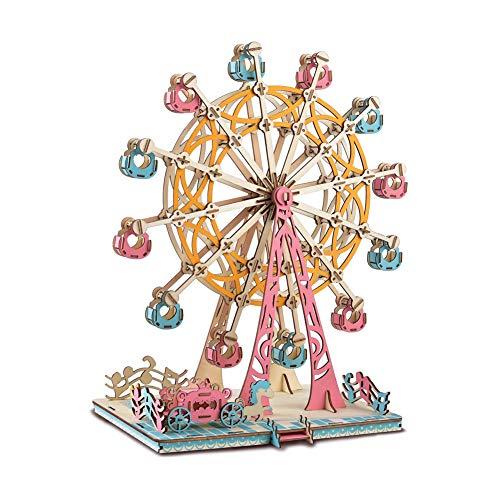 Noria Madera Puzzle 3D,Rompecabezas Noria DIY,Bloques de Construcción Modelo Juego Rompecabezas Educativo Regalo para Ninos Chicos y Adultos