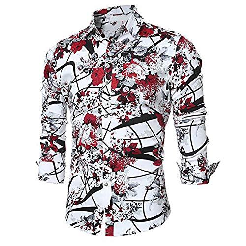 Blumen Hemden Herren Bunte Hemden Langarmhemd Muster Freizeitshemd Langarm Casual Shirt (XL, Rot)