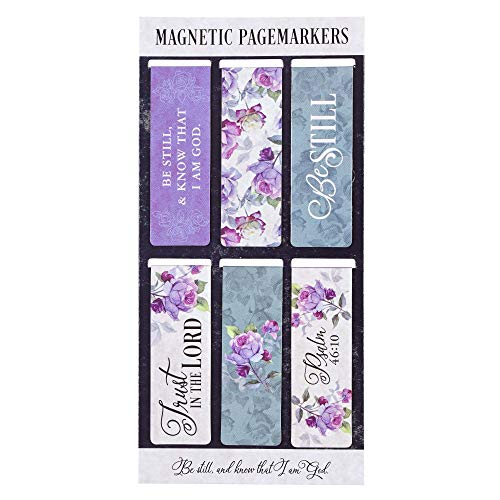 Christian Art Gifts Set of 6 Be Still and Know - Psalm 46:10 Purple Roses Inspirational Magnetic Bible Verse Bookmark with Scripture, Size Small 2.3' x .75'