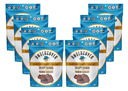 UNDERCOVER CHOCOLATE CRISPY QUINOA CRUNCH | DARK CHOCOLATE + SEA SALT | Gluten Free Crispy Quinoa chocolate snacks | Kosher, Allergen Friendly, Nut Free, Plant Based | 8 Pack of 2oz Bags