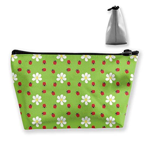 Schminktasche Kosmetiktasche Travel Make-up-Tasche Kulturbeutel mit Reißverschlusstasche für Frauen und Mädchen (Flower Ladybug)