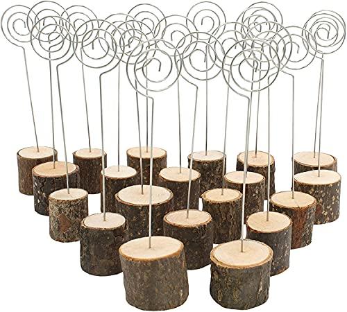 Voarge Soporte de madera rústica, con base de madera real, Memo Clip Portafotos Portanotas de Tocón Soporte para Tarjetas de Mesa Titular de Número y Foto (20pcs con clip)
