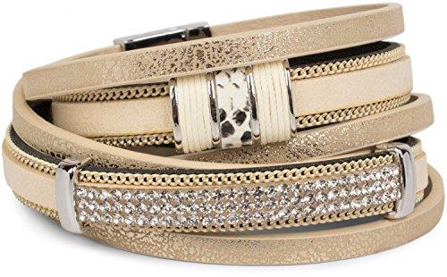 styleBREAKER Vintage Wickelarmband mit Strass, Gliederkette und Magnetverschluss, 3-Reihig, Armband, Damen 05040024, Farbe:Antik-Sand