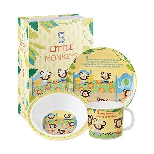 Queens Little Rhymes 5 pequeños Monos 3 Piezas Caja de Regalo, melamina, Multicolor, 16 x 16 x 16.5 cm