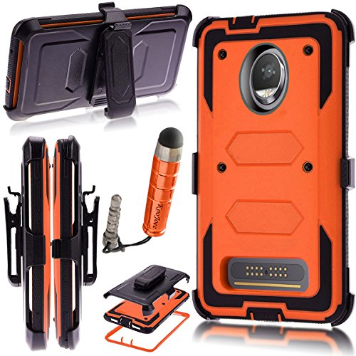Moto Z2 Play/Moto Z2 Force Edition 2017 Case,Heavy Duty Shockproof[Kickstand][Belt Swivel Clip] Dual-Layer Full-Body Armor Rugged Protection Case with Built-in Screen Protector(Free Stylus) (Orange)