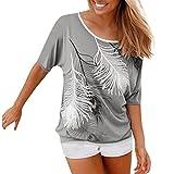 MORCHAN Femmes Dames O Cou à Manches Courtes imprimé Blouse Tops vêtements T-Shirt (XXL, Gris)