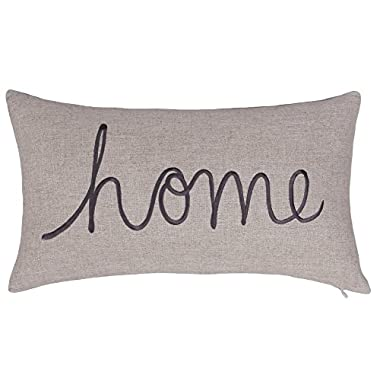 DecorHouzz Home Sentiment Pillow Cover Embroidered Pillow Cases Throw Pillow Decorative Pillow Wedding Birthday Anniversary Gift 14 x24  (Linen)