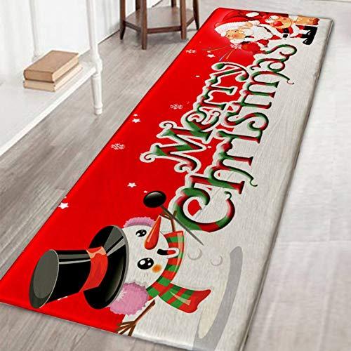 Wingbind Area Tappeto Tappetino Antiscivolo Tappeto a Motivi Natalizio Tappeto Tappetino per Soggiorno Camera da Letto Corridoio Cucina, Babbo Natale e Pupazzo di Neve