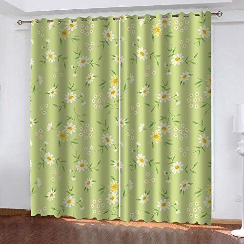 "Grommet Thermal Insulated Room Darkening Curtains Blackout Curtains for Bedroom Insulated Heavy Weight Textured Rich 2 Panels 140"" W x 160"" Hcm Green Flower"
