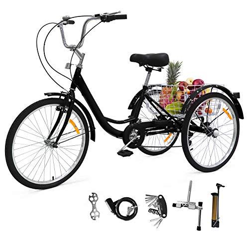 UFLIZOGH 24 Zoll Zahnräder Dreirad für Erwachsene Fahrrad mit Korb 3 Rad Fahrrad für Erwachsene Adult Tricycle Outdoor Sports aus Aluminiumlegierung (Schwarz)