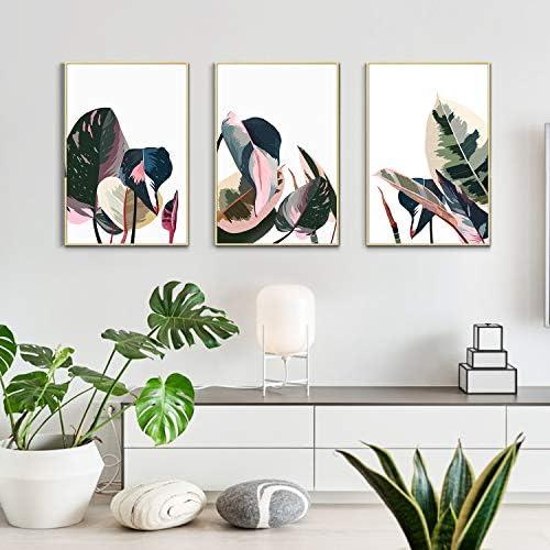 Artbyhannah 3 Pack 16x24 Inch Framed Canvas Wall Art Decor with Tropical Botanical Plant Prints product image