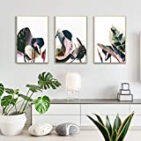 Artbyhannah 3 Pack 16x24 Inch Framed Canvas Wall Art Decor with Tropical Botanical Plant Prints Watercolored Canvas Prints Artwork Picture Ready to Hang for Home Decoration