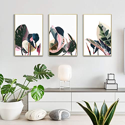 """Artbyhannah 3 Pack 16"""" x 24"""" Framed Canvas Wall Art Decor with Tropical Botanical Plant Prints Watercolored Canvas Prints Artwork Picture Ready to Hang for Home Decoration"""