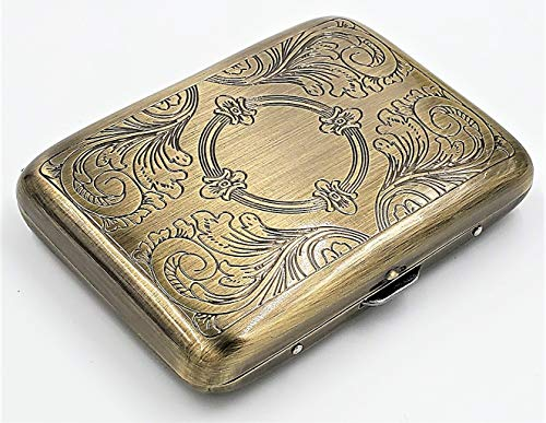 Classic Metallic Silver Color Double Sided King Cigarette Case Etched Design Shorter than 100's (Antique Brass)