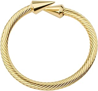 Monobijoux Triangle Arrow Cone Cable Cuff Bracelet Medium Size Cable Wire Twisted Cuff Bangle Bracelets for Women