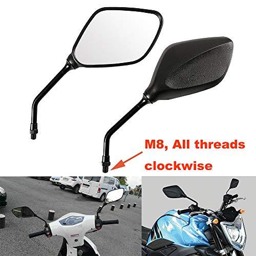 ViZe 8MM Rétroviseurs Latéraux Universel Miroir Arrière Moto pour Street Bikes Sport Bikes Scooter (Tous HORAIRES)