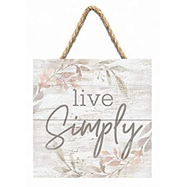 Live Simply Floral Wreath Whitewash 7 x 7 Inch Wood Pallet Wall Hanging Sign