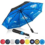 Eono by Amazon - Folding Umbrella Compact Travel Umbrella Durable Rain Umbrella Portable Umbrella with Teflon Coating-Reinforced Canopy, Ergonomic Handle, Auto Open/Close, Sky