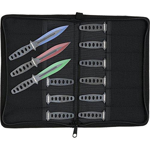 Haller 12 Bunte Wurfmesser Set in rot grün blau eloxiert mit Tasche