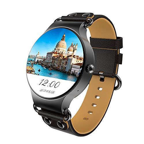 MHCYKJ Smart Watch Android 5.1 3G WiFi GPS Uhr MTK6580 Smartwatch Ios Android für Mann Frau,Black