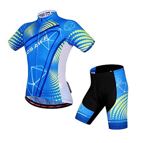 Wosawe - Tuta da ciclismo per uomo, traspirante, a maniche corte, da bici/maglia da bicicletta e pantaloncini imbottiti 4D, set per MTB, Uomo, BC494-00L, Suit_Sky, L