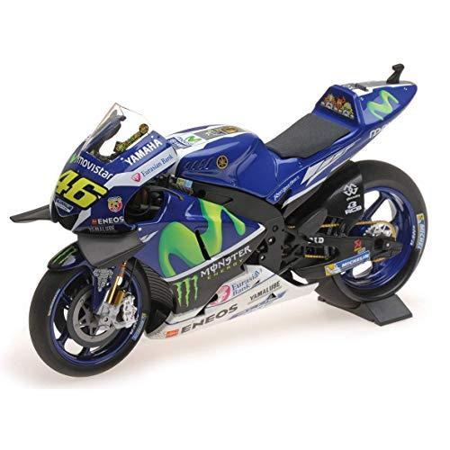 Minichamps Yamaha YZR-M1 Valentino Rossi Winner Catalunya MotoGP 2016 Druckguss-Modell, Blau/Weiß, Maßstab 1:12