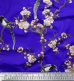 Soimoi Blau Seide Stoff Blumen & Paradise Whydah