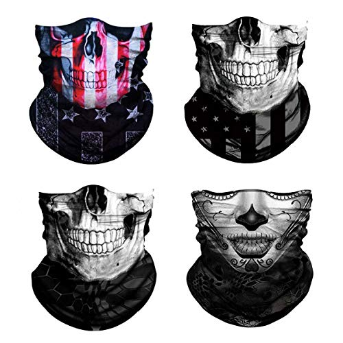 3D Skull Print Face Bandana Neck Gaiter for Men Women, Sun UV Wind Dust Protection Half Mask Magic Scarf, Reusable Washable Cloth Fabric Balaclava Headwear for Motorcycle, Hiking, Halloween-6